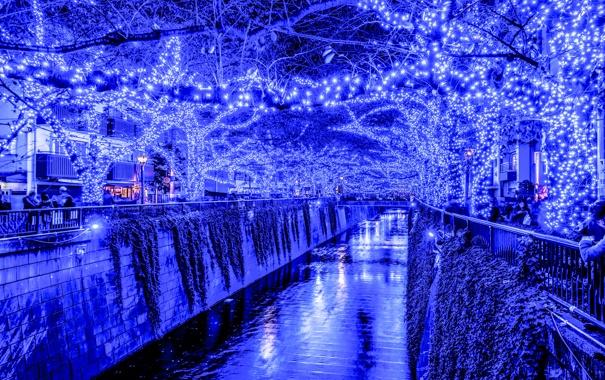 Фото обои Япония, праздник, Токио, вечер, огни