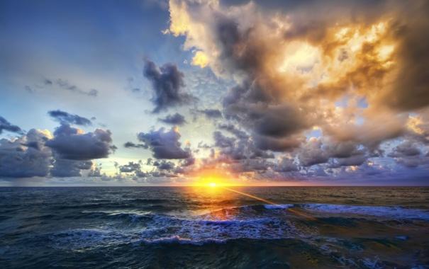 Фото обои море, облака, закат