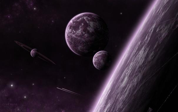 Фото обои звезды, планеты, кольца, спутники