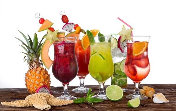 Фото обои summer, fresh, коктейли, fruit, drink, tropical, cocktails