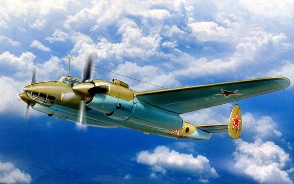 Фото обои небо, рисунок, арт, бомбардировщик, дневной, советский, двухмоторный