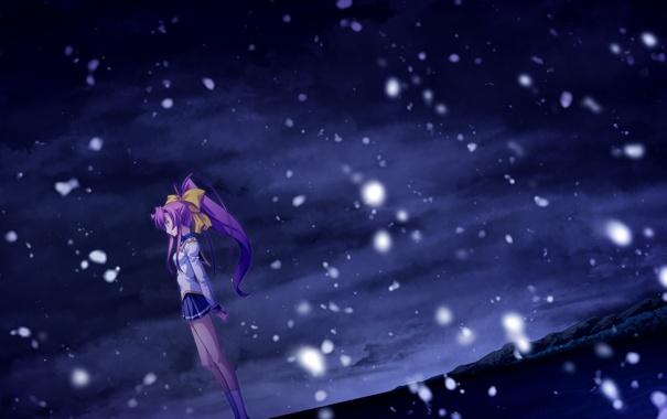 Фото обои девушка, снег, горы, ночь, аниме, арт, izumi mahiru