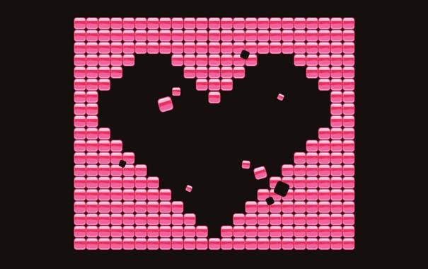 Фото обои квадратики, чёрное, розовое, сердечко