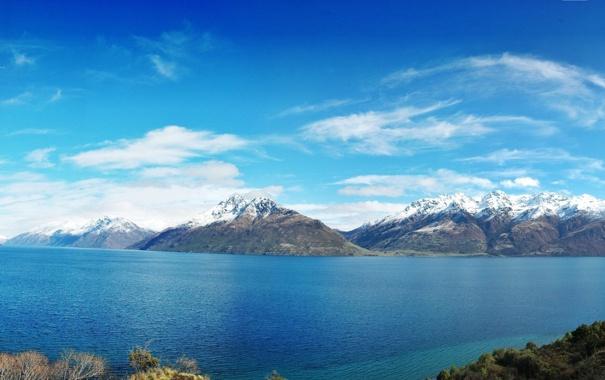 Фото обои небо, горы, природа, озеро, фото, Новая Зеландия, панорама