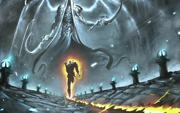 Фото обои след, арт, бег, Diablo III, жнец, Reaper of Souls, Malthael
