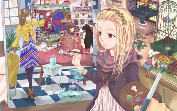 Фото обои краски, картина, аниме, девочка, творчество, художница