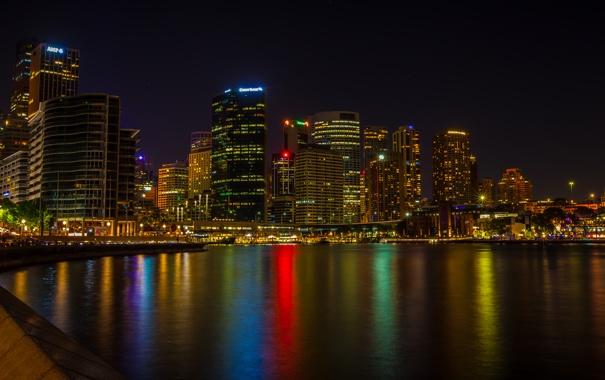 Фото обои ночь, город, река, фото, небоскребы, Австралия, Сидней