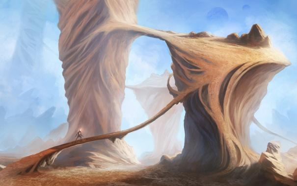 Фото обои дорога, мост, фантастика, скалы, существо, арт, каньон