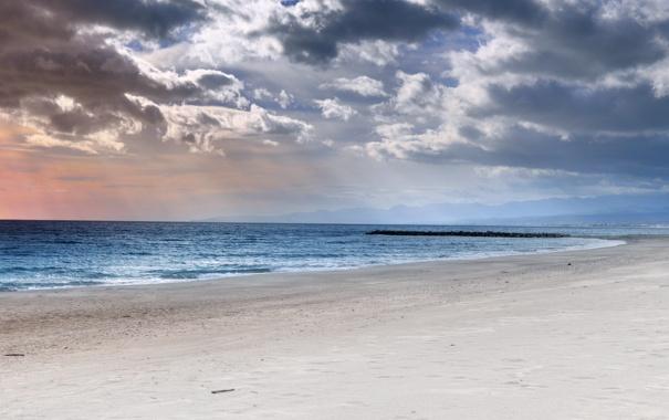Фото обои зима, море, пляж, небо, вода, фото, океан