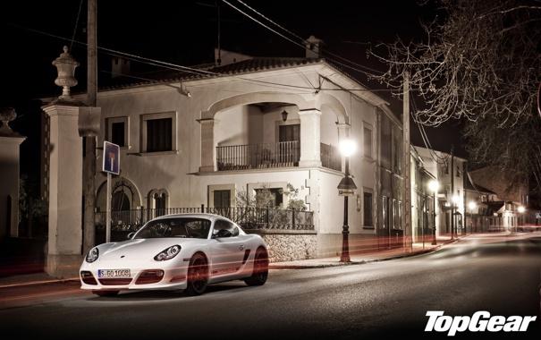 Фото обои белый, ночь, улица, дома, Porsche, фонари, Cayman