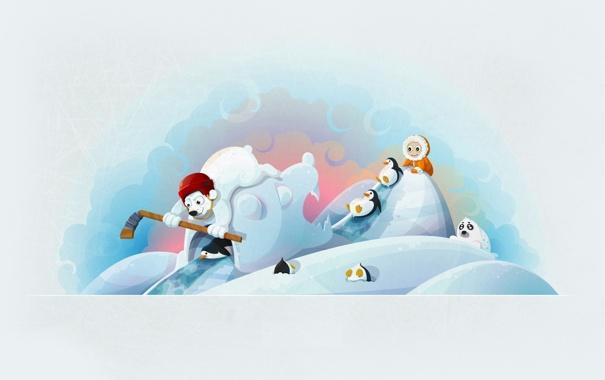 Фото обои мишка, хоккей, клюшка, тюлень, зима, пингвин, ребёнок