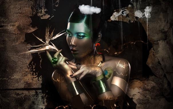 Фото обои взгляд, девушка, фон, волосы, кольца, руки, арт