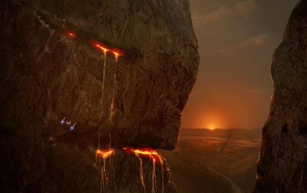 Фото обои пейзаж, закат, горы, река, скалы, корабль, арт