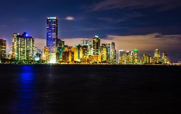 Фото обои огни, Майами, вечер, Флорида, Miami, florida