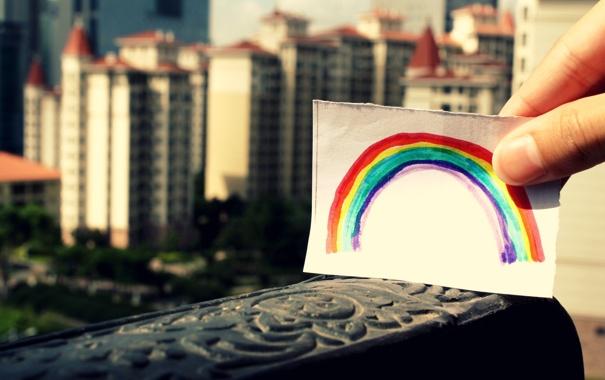 Фото обои city, город, бумага, краски, рисунок, Радуга, rainbow
