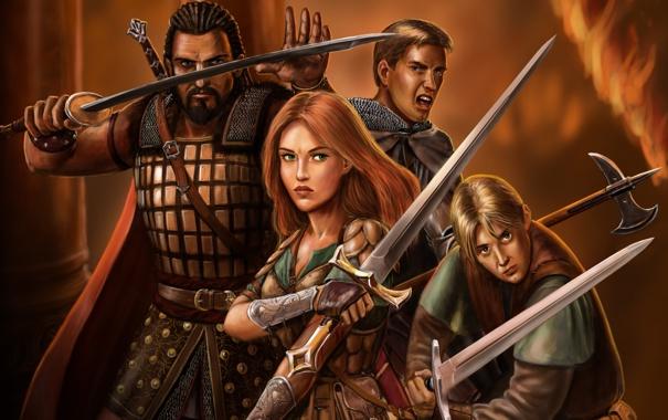 Фото обои девушка, оружие, меч, войны, арт, компания, мужчины