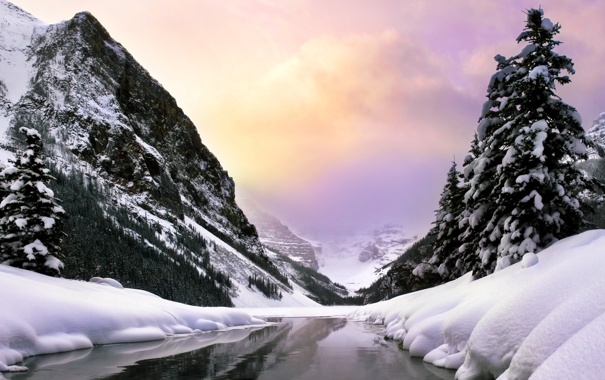 Фото обои холод, зима, лес, вода, облака, снег, деревья