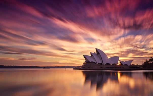 Фото обои город, утро, Австралия, Сидней, оперный театр
