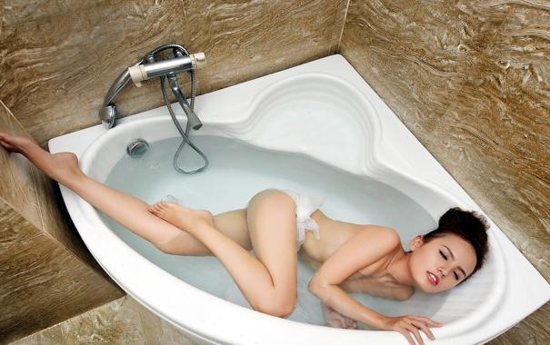 Фото обои девушка, фон, ванна