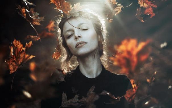 Фото обои осень, девушка, природа