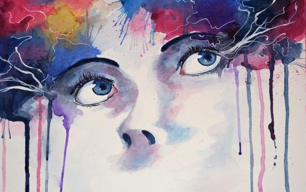 Фото обои белый, глаза, взгляд, цвета, девушка, оранжевый, желтый