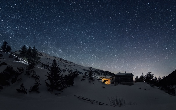 Фото обои зима, небо, звезды, снег, Болгария, Национальный парк Пирин, Благоевград