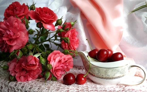 Фото обои лето, цветы, вишня, ягоды, розы, платок