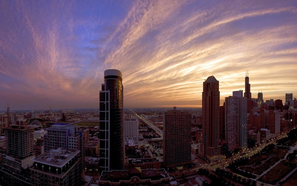 Фото обои небо, облака, город, домаUSA - Illinois - Chicago