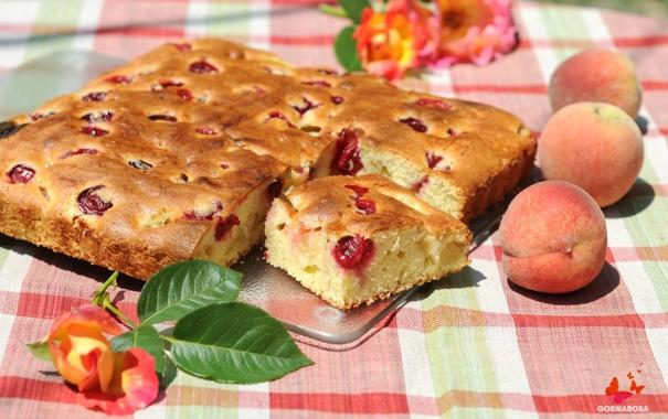 Фото обои роза, пирог, персики, выпечка