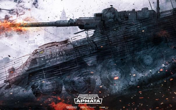 Фото обои выстрел, танк, tanks, CryEngine, mail.ru, Armored Warfare, Obsidian Entertainment