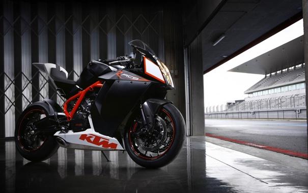 Фото обои Мотоцикл, KTM, чёрный, Ктм, в гараже
