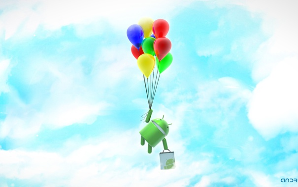 Фото обои green, robot, ANDROID, balloons, os android