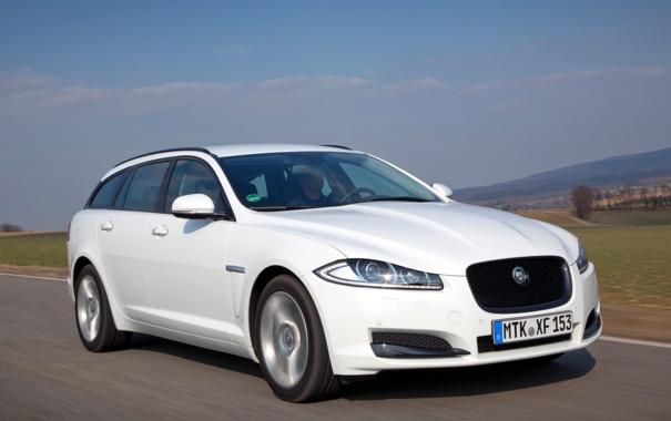 Фото обои Jaguar, автомобиль, в движении, красивый, Sportbrake