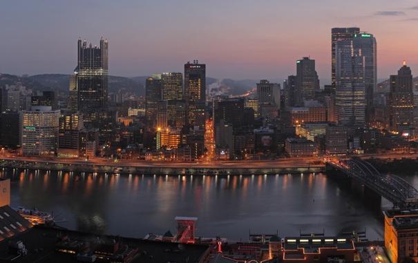 Фото обои город, дома, Америка, мосты, Питтсбург
