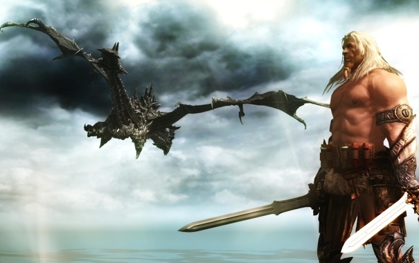 Фото обои дракон, сказка, воин