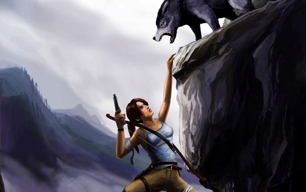 Фото обои девушка, скала, волк, хищник, лук, арт, висит