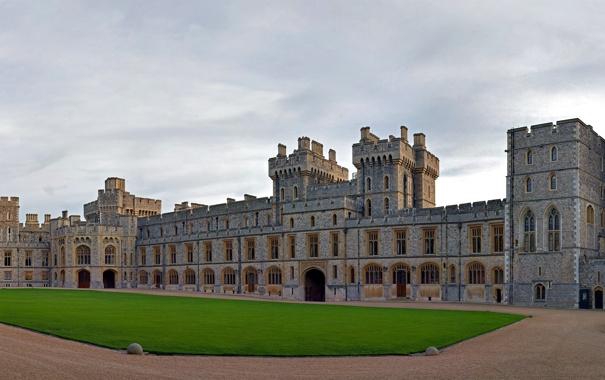 Фото обои Англия, Небо, Облака, Трава, Замок, Здание, Архитектура