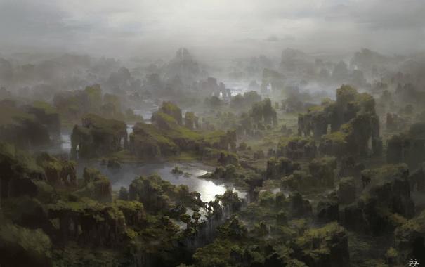 Фото обои зелень, вода, пейзаж, вид, водопад, арт, панорама