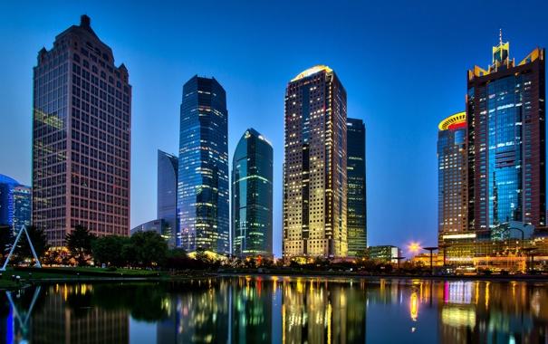 Фото обои ночь, город, огни, парк, река, China, здания