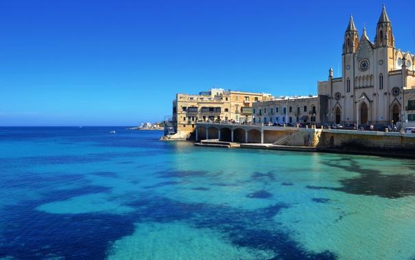 Фото обои город, St. Julian s, побережье, дома, фото, Мальта, море