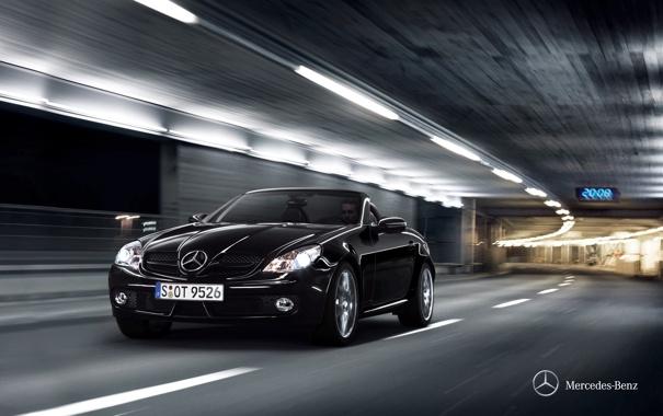 Фото обои машина, скорость, туннель, Mercedes-Bez