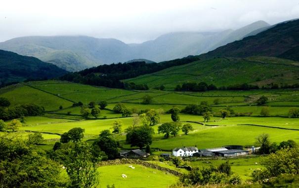 Фото обои зелень, горы, природа, холмы, долина