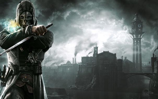 Фото обои город, маска, капюшон, кинжал, мужчина, Dishonored