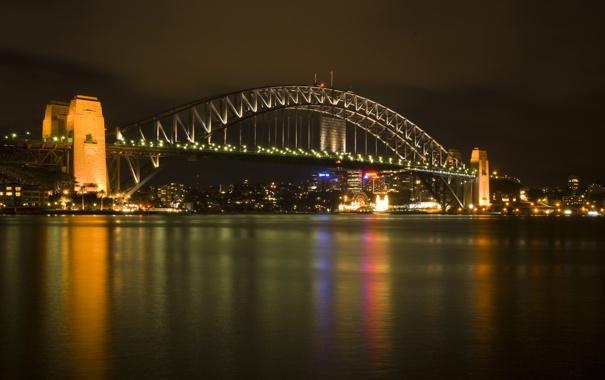 Фото обои вода, свет, ночь, огни, река, города, вид