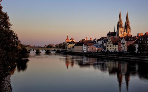 Фото обои закат, мост, река, берег, дома, Германия, Бавария