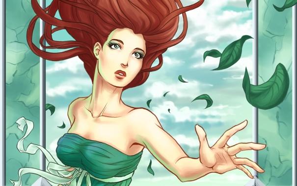 Фото обои листья, девушка, руки, платье, арт, зеленое, лицо. волосы