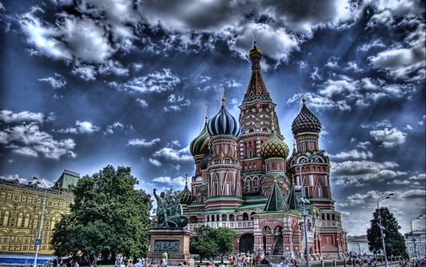 Фото обои Москва, Храм Василия Блаженного, Россия, Moscow