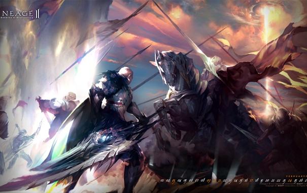 Фото обои эльф, человек, меч, всадник, битва, Lineage 2, lineage