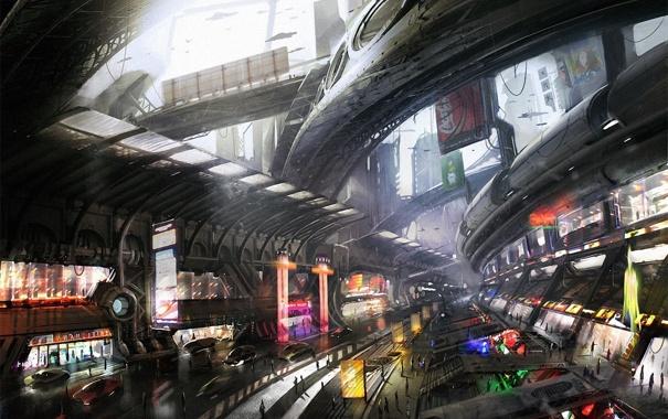 Фото обои город, будущее, рисунок