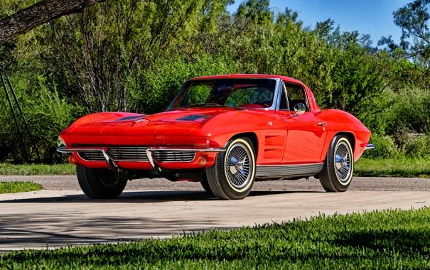 Фото обои Corvette, Chevrolet, шевроле, Stingray, корветт, 1963